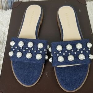 Metaphor Slip On Jean Jeweled Flat SZ 7.5